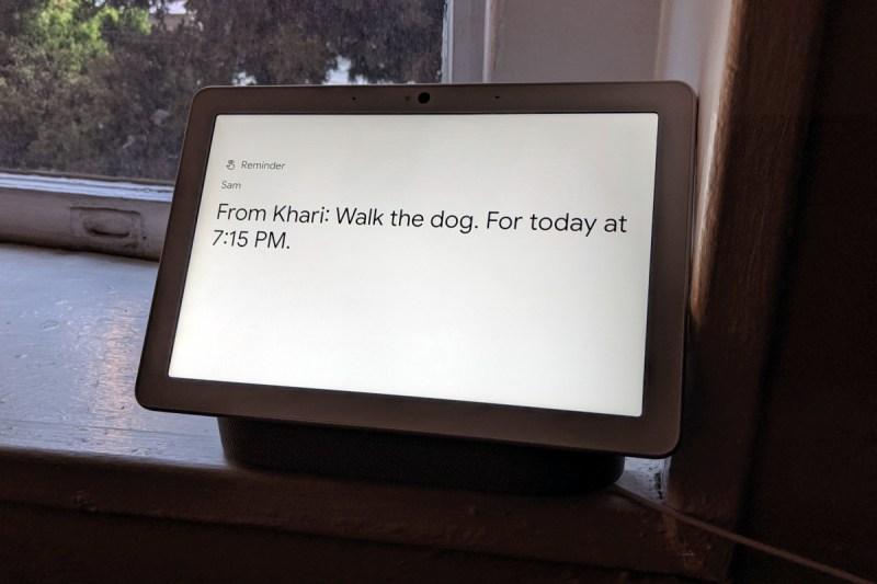 Assigned reminder on smart display