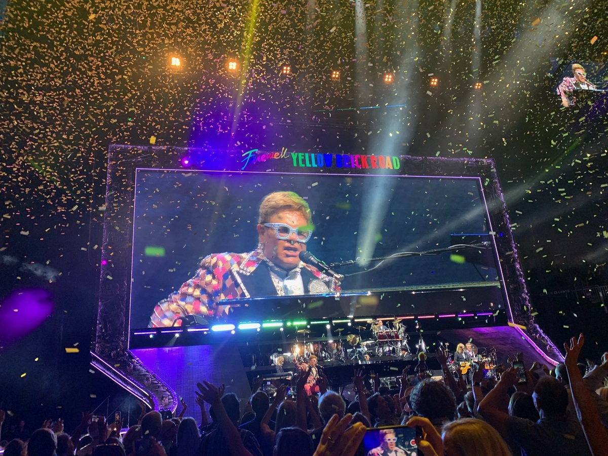 Elton John live at the Chase Center in San Francisco.