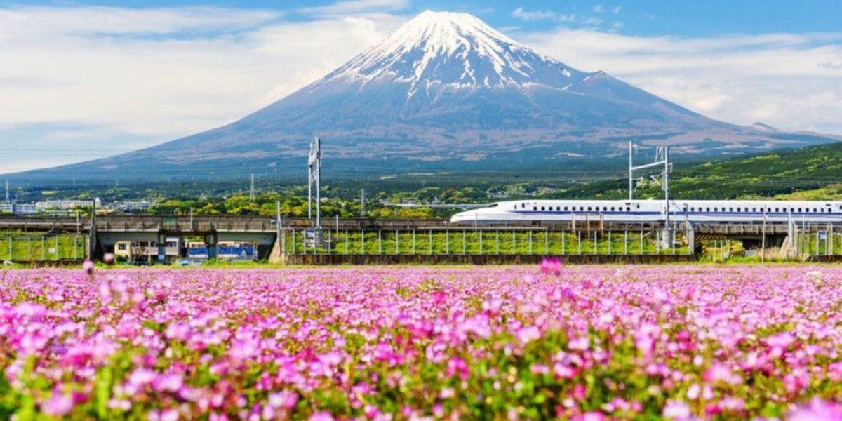 The Tokaido Shinkansen passes by Mount Fuji on its way to Shin-Fuji station.