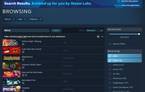 The new Steam search.
