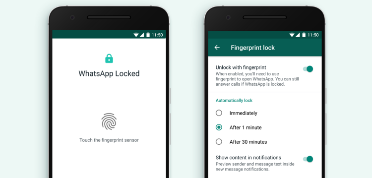 WhatsApp has finally brought fingerprint unlocking to Android phones