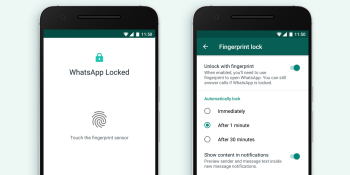You can now unlock WhatsApp for Android with your fingerprint