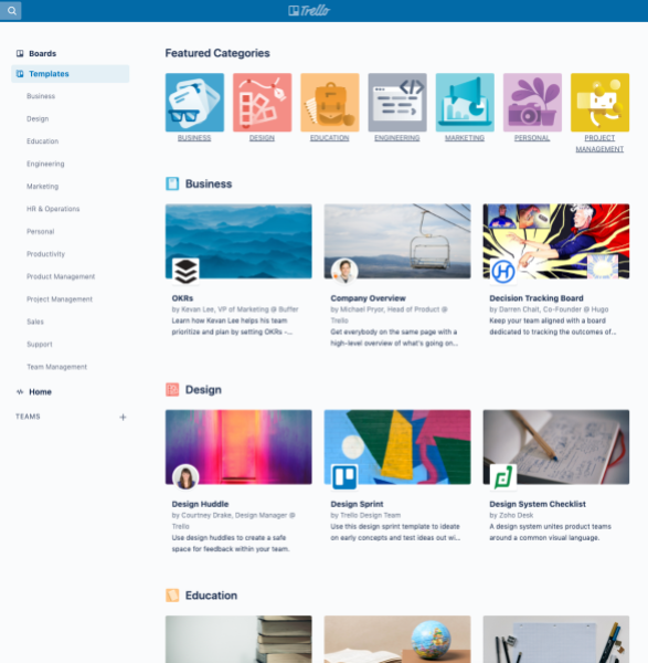 Trello template gallery