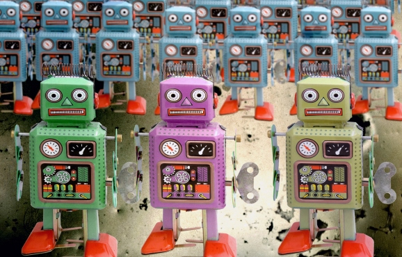 Large troop of retro robots
