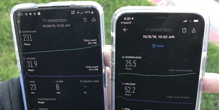 We put the OnePlus 7 Pro 5G (left) and iPhone 11 Pro (right) to a real-world speedtest in Los Angeles.