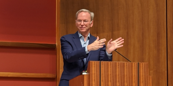 Alphabet technical advisor Eric Schmidt onstage at Stanford University on Oct. 28, 2019