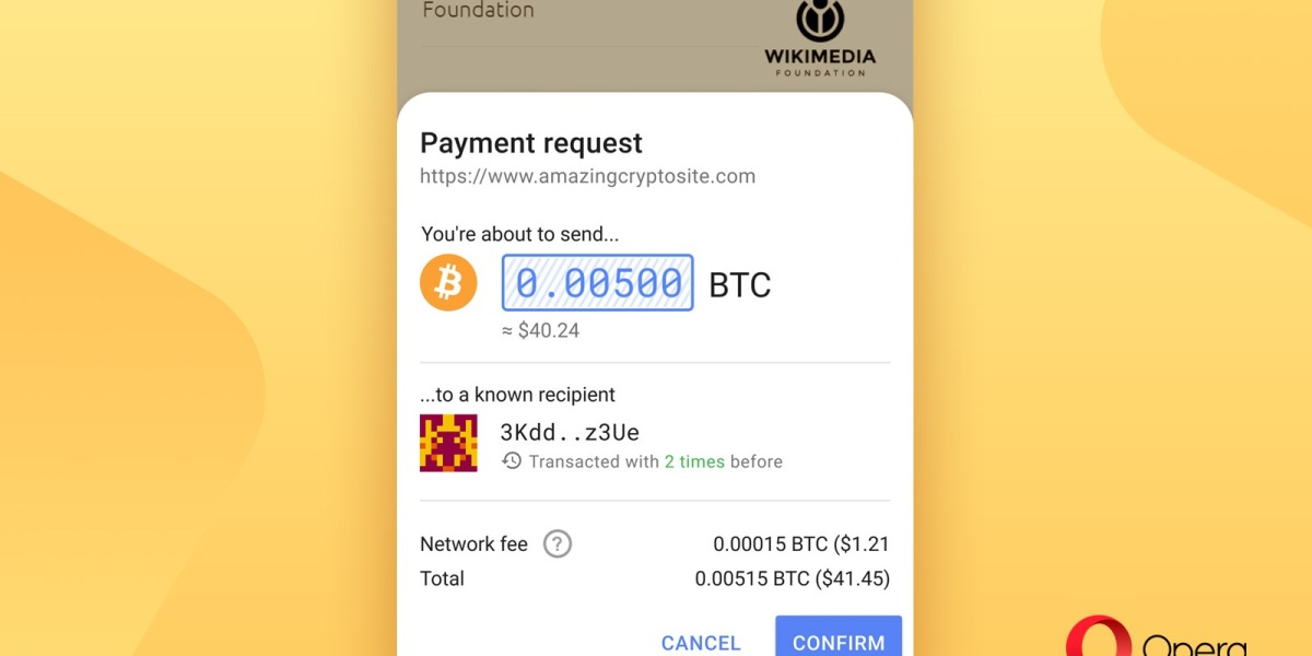 Opera now supports Bitcoin