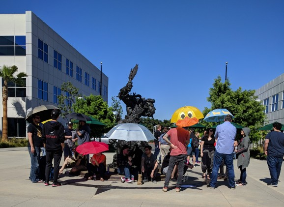 Blizzard employees demonstrating at the campus.
