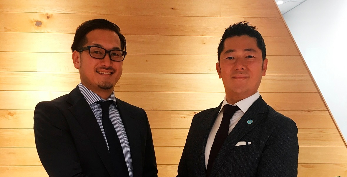 Naoki Sassa, country manager for Japan, at Adjust (right) and Akira Ichikawa, director of Cyber Z.