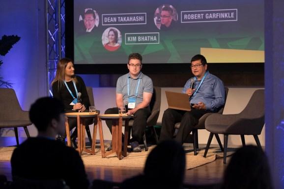 Left to right: Kim Bhatha of Zynga, Robert Garfinkle of Big Huge Games, and Dean Takahashi of GamesBeat.