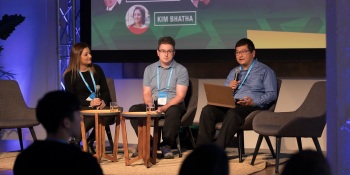 Left to right: Kim Bhatha of Zynga, Robert Garfinkle of Big Huge Games, and Dean Takahashi of GamesBeat.
