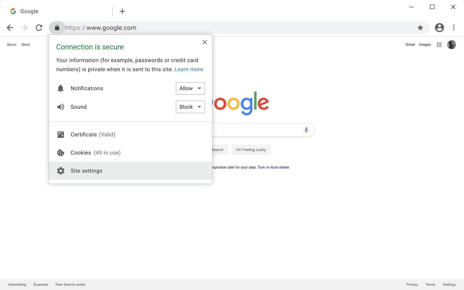 Chrome 79 page info