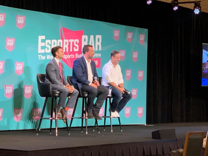 Left to right: Darren Heitner, Darren Cox, and Rubens Barrichello at Esports BAR Miami.