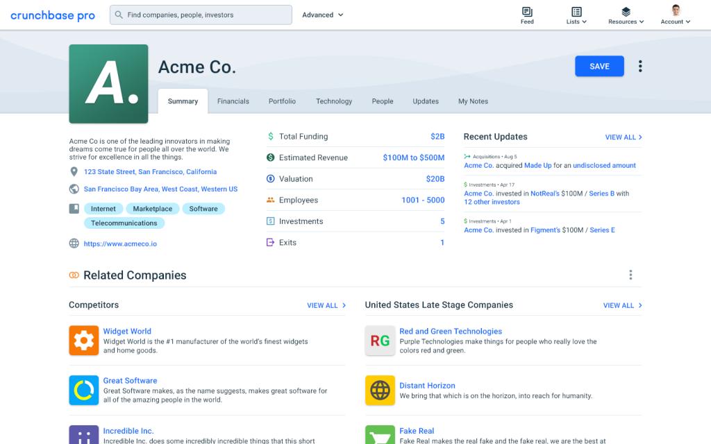 Crunchbase new profile page