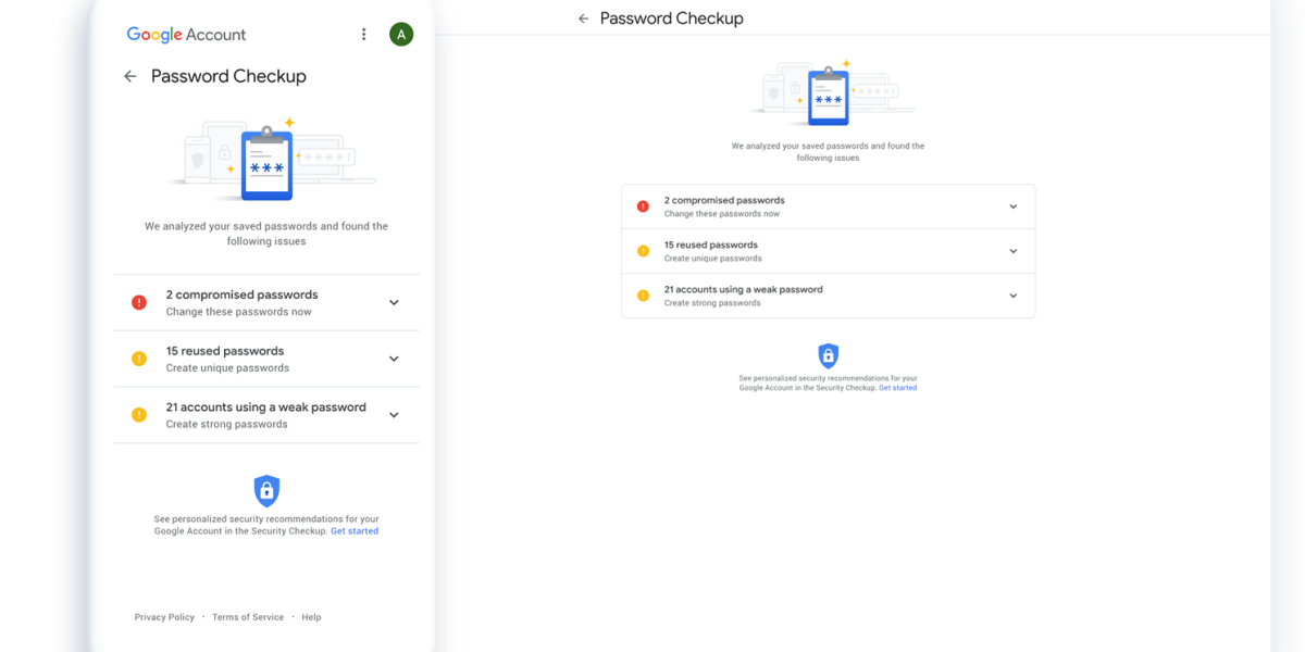 Google's password checkup tool is now baked into password manager