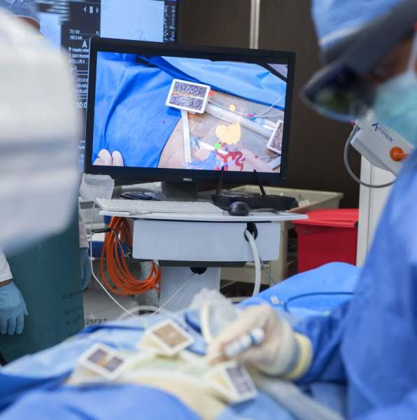 What a doctor sees during surgery with MediView AR.