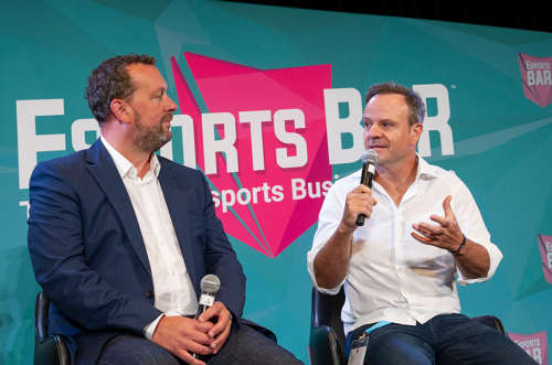 Darren Cox of Millennial Esports, and race car driver Rubens Barrichello at Esports BAR Miami.