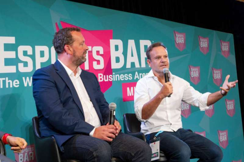 Darren Cox of Millennial Esports, and Rubens Barrichello at Esports BAR Miami.