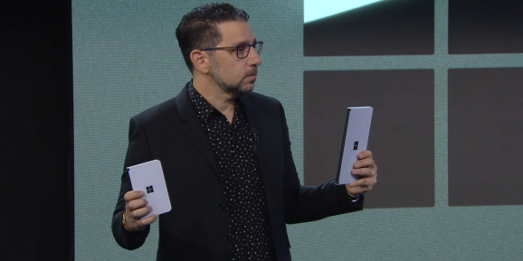 Microsoft's Panos Panay with a Surface Duo (left) and a Surface Neo (right)