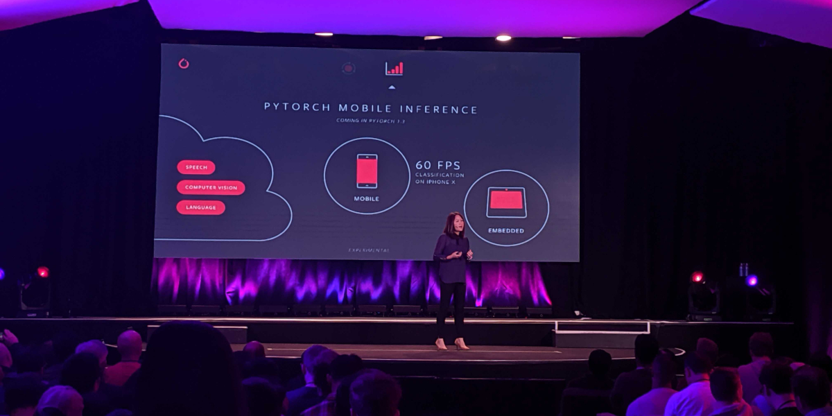 Facebook engineering director Lin Qiao onstage at PyTorch Developer Conference at The Midway held October 10, 2019 in San Francisco