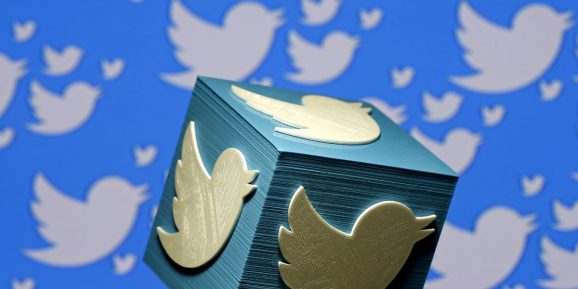 A 3D-printed logo for Twitter is seen in this picture illustration made in Zenica, Bosnia and Herzegovina
