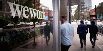 CHICAGO, ILLINOIS - AUGUST 14:  A sign marks the location of a WeWork office facility.