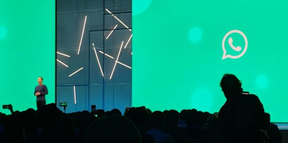 Facebook CEO Mark Zuckerberg onstage at F8 conference in May 2018 at the San Jose McEnery Convention Center