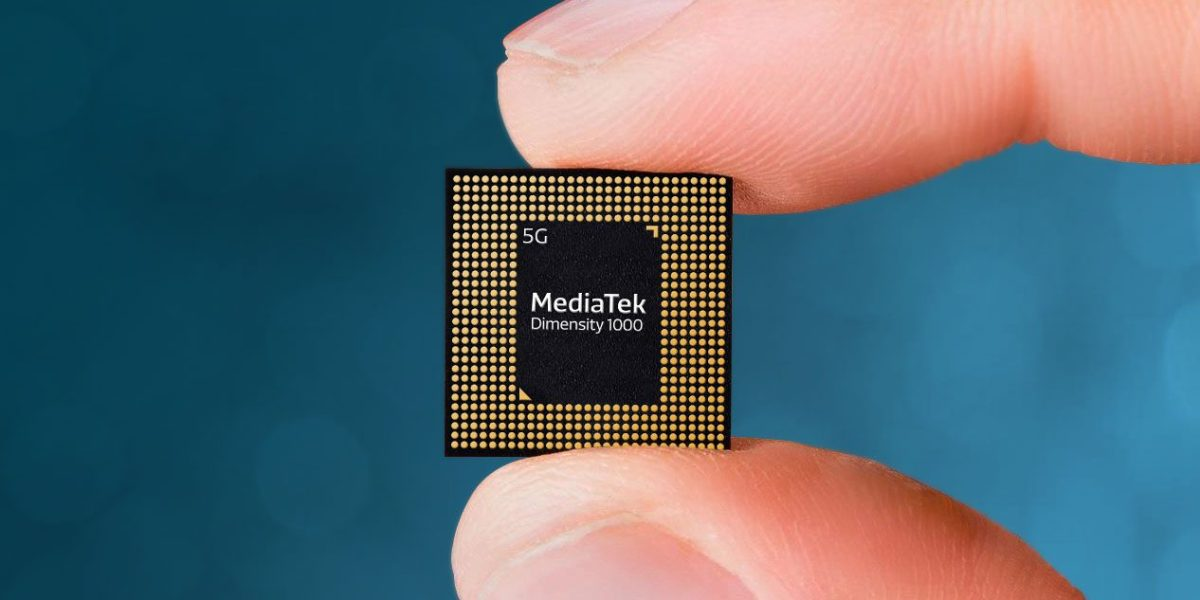 Hand holds MediaTek's Dimensity 1000 5G SoC between thumb and forefinger