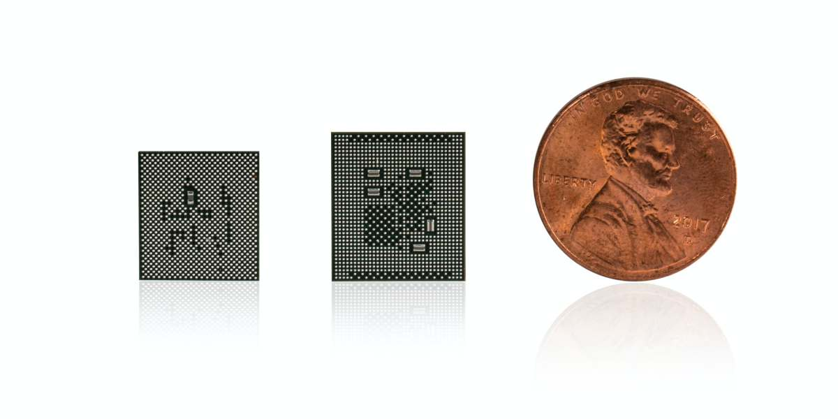 Qualcomm's new Snapdragon 765 and 865 processors are shown next to a U.S. penny coin.