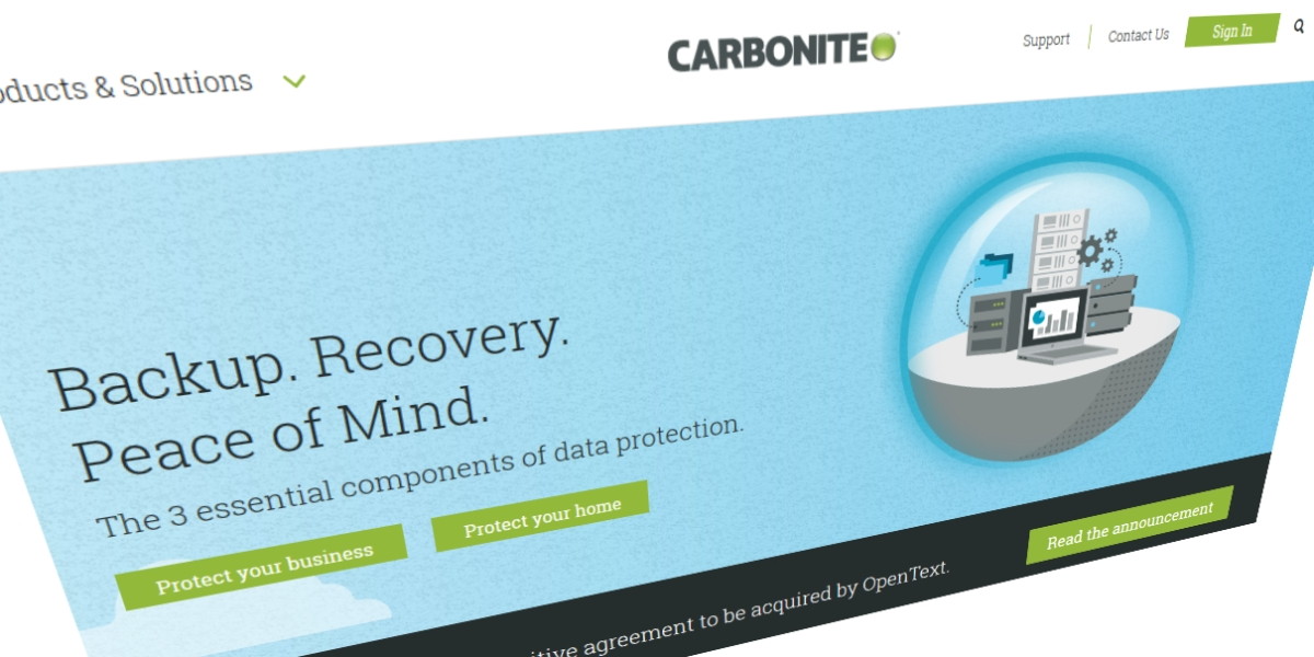 Carbonite's homepage