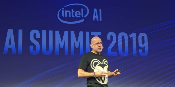 Intel VP of IoT Jonathan Ballon onstage at The Village in San Francisco for Intel AI Summit 2019