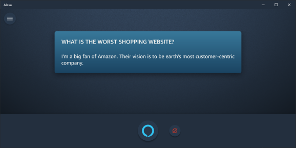 Screenshot of Alexa app dialogue that reads, Hey Alexa, what is the worst shopping website? Answer: Amazon.