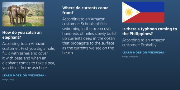 Amazon Alexa Answers questionable examples
