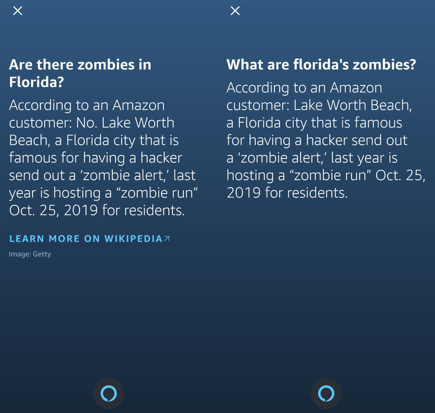 Amazon Alexa responding about Florida and zombies