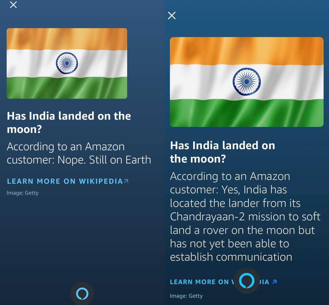 Amazon Alexa answers has India landed on the moon?