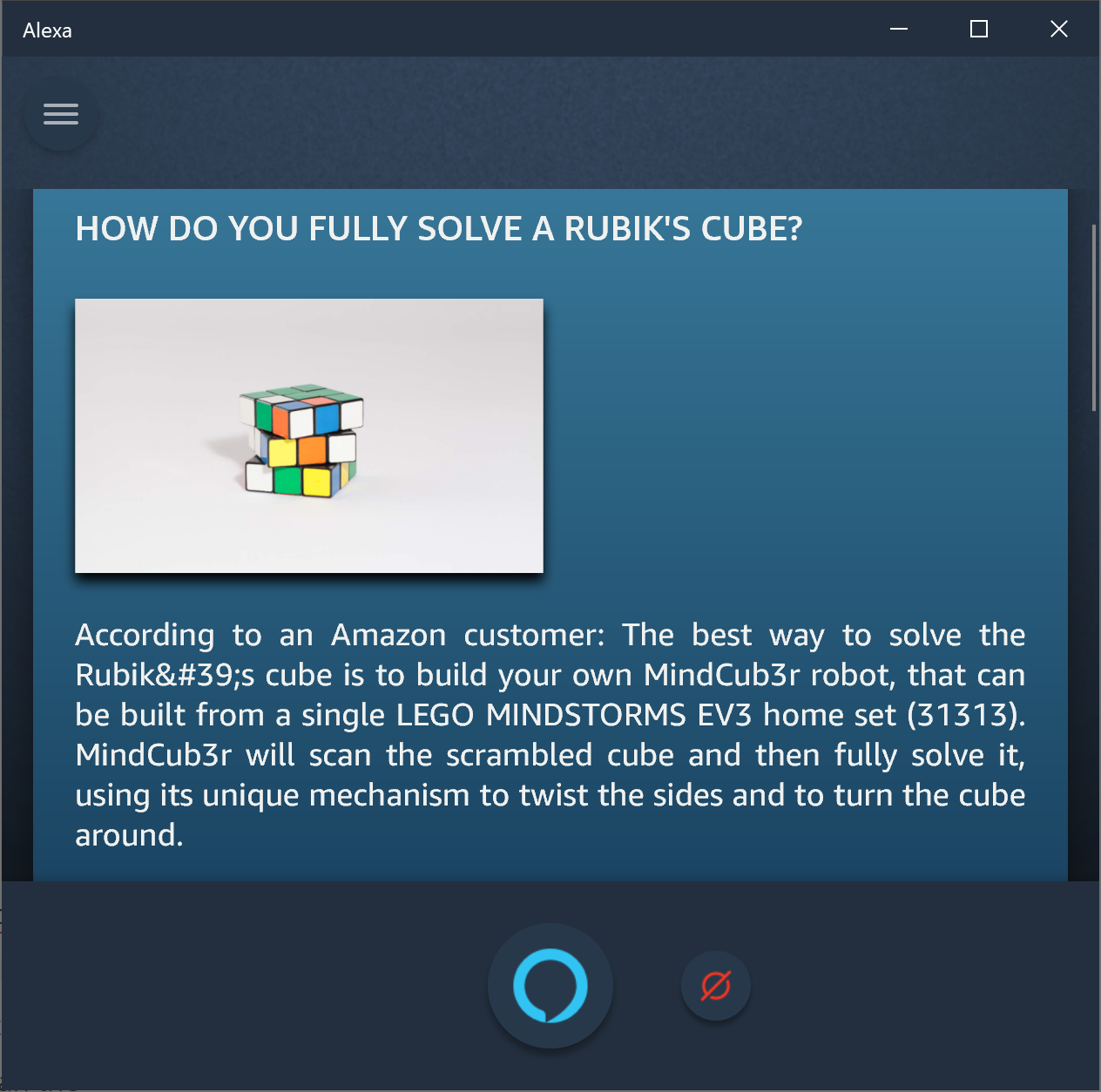 Amazon Alexa on how to fully solve a Rubik's cube