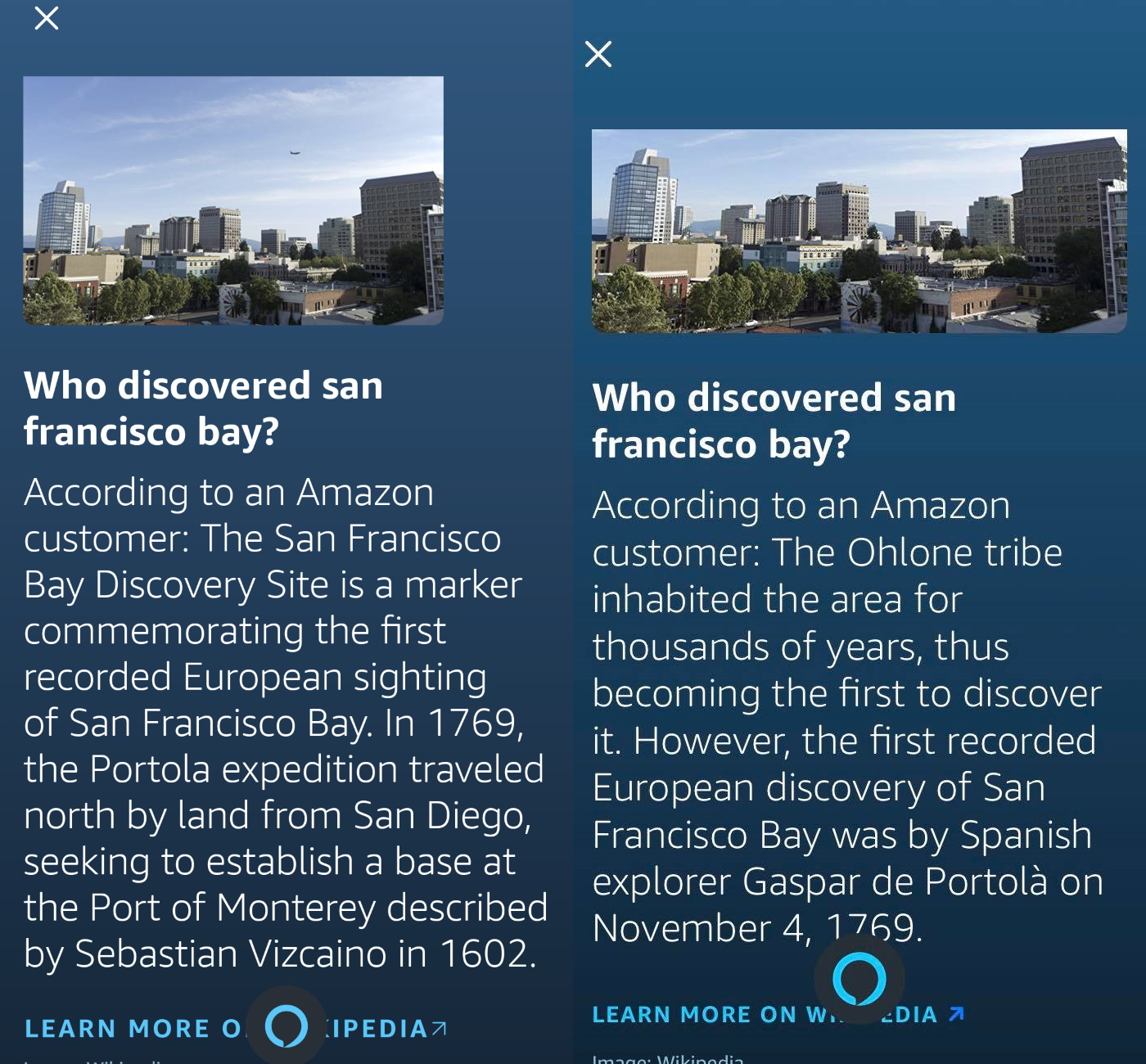 Amazon Alexa answering who discovered San Francisco Bay