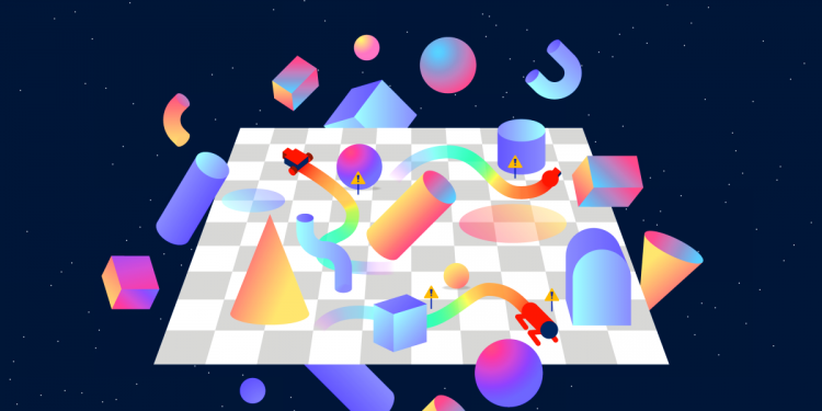OpenAI Safety Gym screenshot shows assorted 3D shapes floating above a chessboard-patterned floor