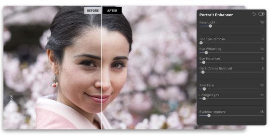 Luminar 4 uses AI tools to improve photos, such as removing dark circles under people's eyes.