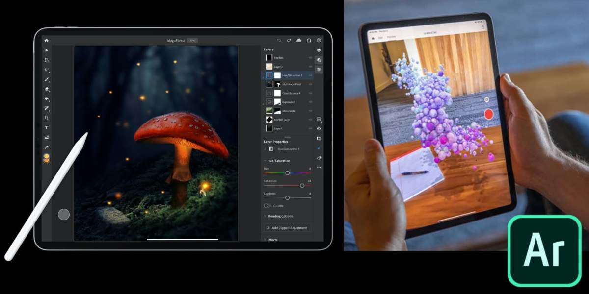 Photoshop for iPad (left) and Aero for iOS (right).
