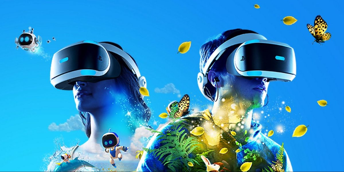 illustration of two people wearing VR headsets with butterflies and tiny robots hovering around