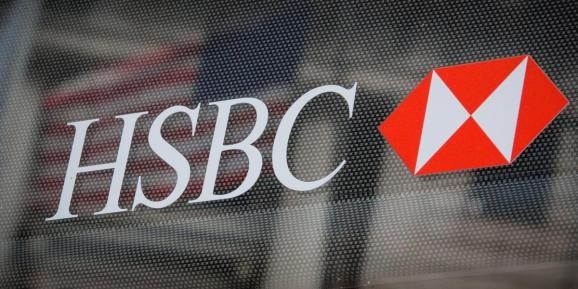 FILE PHOTO: HSBC logo is seen on a branch bank in the financial district in New York, U.S., August 7, 2019.