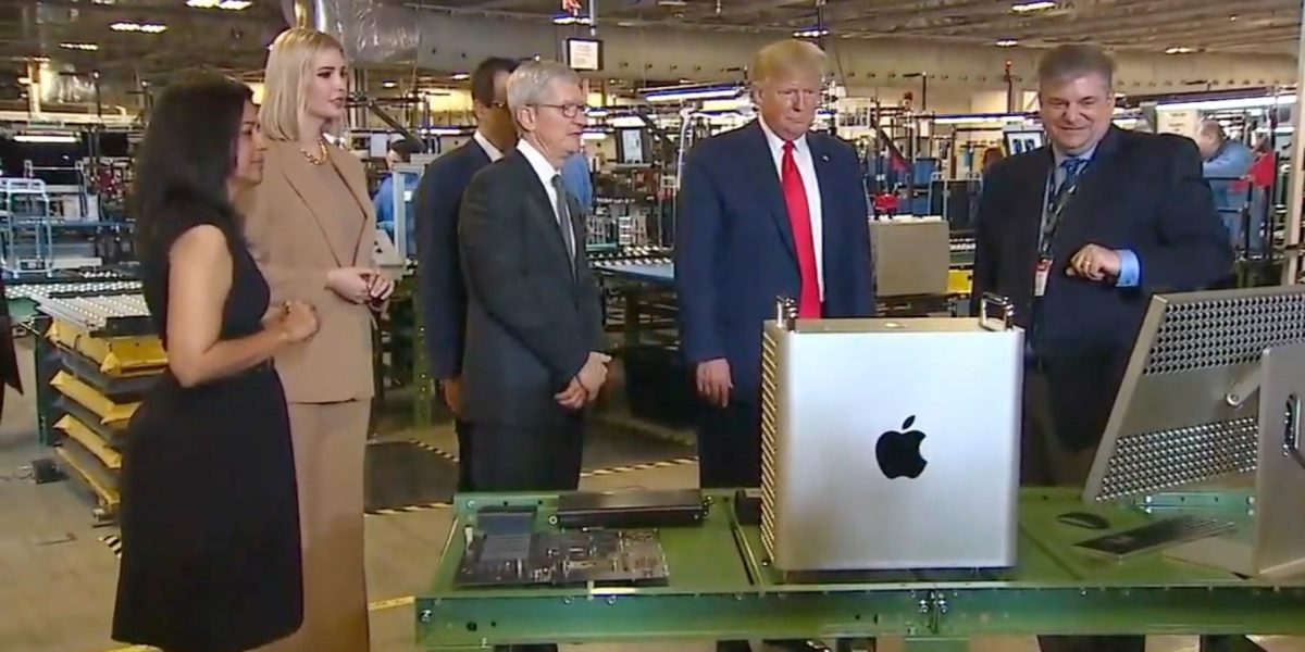 U.S. President Donald Trump and Apple CEO Tim Cook visit an Austin, Texas factory where Mac Pros are assembled, on November 20, 2019.