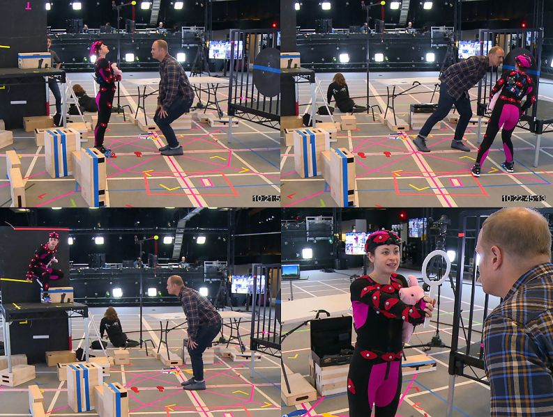Motion capture for the digital character Lucy of Wolves in the Walls.