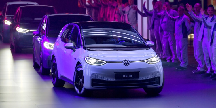 New cars drive during a ceremony marking start of the production of a new electric Volkswagen model ID.3 in Zwickau, Germany,
