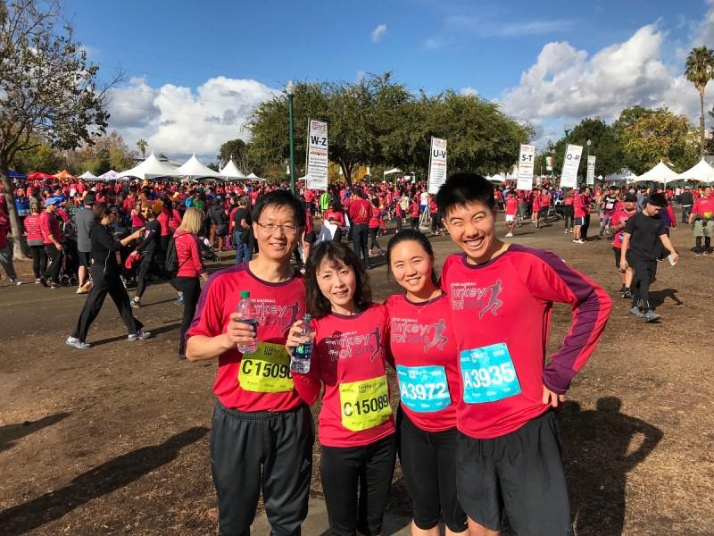 The running Xu family: (Left to right) John, , Jenny, and Jeffrey.