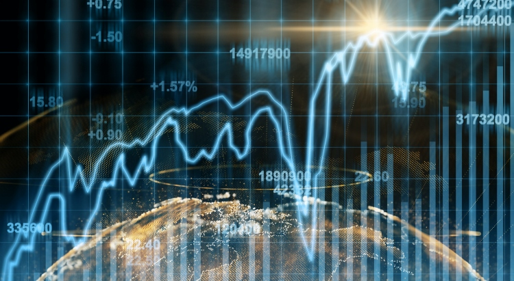 Abstract planet earth particle over the Stock market chart,Closeup Stock market exchange data on LED display, business and technology trading concept (Abstract planet earth particle over the Stock market chart,Closeup Stock market exchange data on LED
