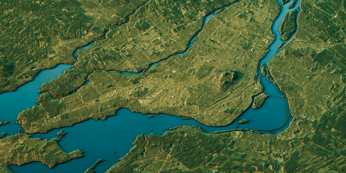 3D Render of a Topographic Map of Montreal, Canada.Contains modified Copernicus Sentinel data (July 20, 2016) courtesy of ESA. URL of source image: https://scihub.copernicus.eu/dhus/#/home.Relief texture SRTM data courtesy of NASA. URL of source im