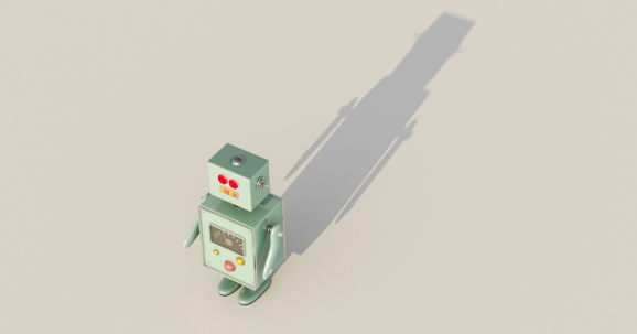 3D rendering of a robot casting a shadow