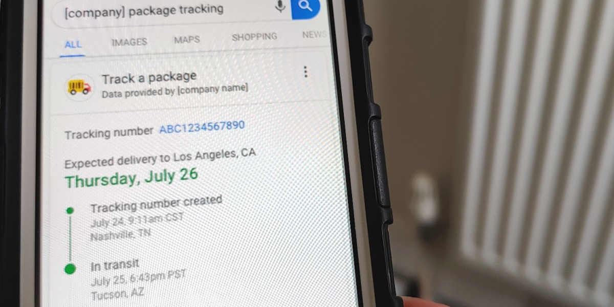 Track a package in Google Search